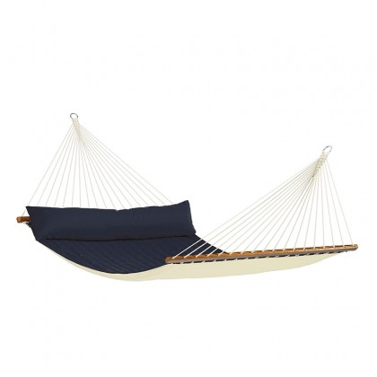 LA SIESTA® Alabama Navy Blue - Quilted Kingsize Spreader Bar Hammock