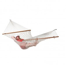 LA SIESTA® Virginia Écru - Cotton Rope Kingsize Spreader Bar Hammock