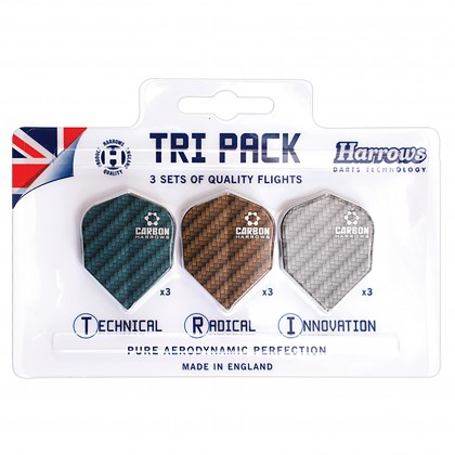 Harrows Dart Flights Carbon Tri Pack 9 Pcs